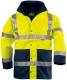 FLUO PE 4/1 sárga/kék: fluo mellény + polár pulóver (levehető ujjak) + dzseki + bélelt kabát