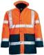 FLUO PE 4/1 narancs/kék: fluo mellény + polár pulóver (levehető ujjak) + dzseki + bélelt kabát