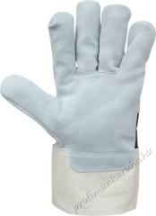2204 Védőkesztyű, ipari, erős, 1-2 mm vastag marhahasíték, erős vászon kézhát