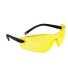 Profil védőszemüveg, sárga, polikarbonát UV370 & gumi szár