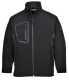 Duo Softshell dzseki, fekete, 94% poliészter, 6% spandex, 160g, ragasztva 100% poliészter mikro polár polár, 150g.