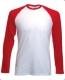 Baseball T Long Sleeve, 160g, White Red, fehér- piros hosszúujjú póló